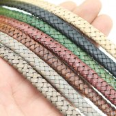 Flat Braided Leather Cord 10 mm