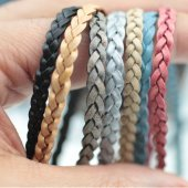 Flat Braided Leather Cord 5 mm