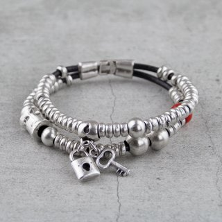 Zweireihiges Ethno Armband mit Metallcharms