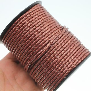 1 m Metallic Copper, Lederband rund geflochten 4 mm